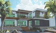 One of our many suggested designs for your custom Mediterranean style villa on your beachfront lot...