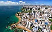 View of Salvador and Barra neighborhood with Porto da Barra Beach..