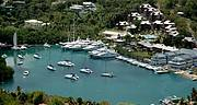 Aerial view of Capella Resort and Marina..