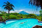Infinity pool offering exquisite lake and volcano views..